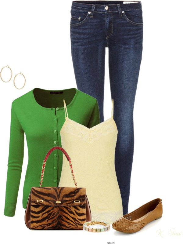 Simple Spring Outfit With Cardigan, Tank Top and Flat Shoes outfitspedia