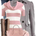 Striped Pink Sweater and Grey Coat Fall Outfit