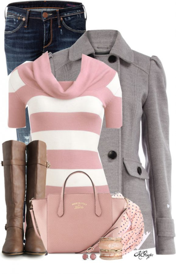 Striped Pink Sweater and Grey Coat Fall Outfit outfitspedia
