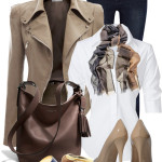 Taupe Leather Jacket Work Outfit