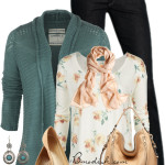 Teal Cardigan and Cream Simple Spring Outfit
