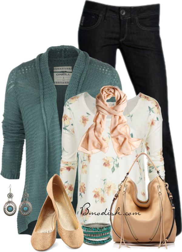 Teal Cardigan and Cream Simple Spring Outfit outfitspedia