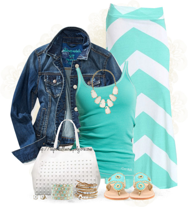Turquoise Chevron Maxi Skirt Summer Stylish Outfit outfitspedia