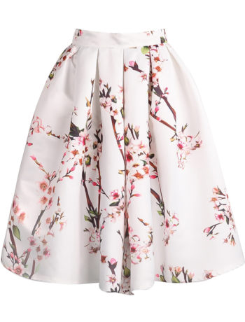 floral pleated white skirt 1
