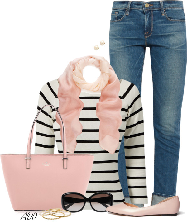 Black and White Striped Jumper Casual Spring Outfit outfitspedia