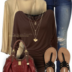 Casual Cowl Neck Brown Pullover Outfit Idea