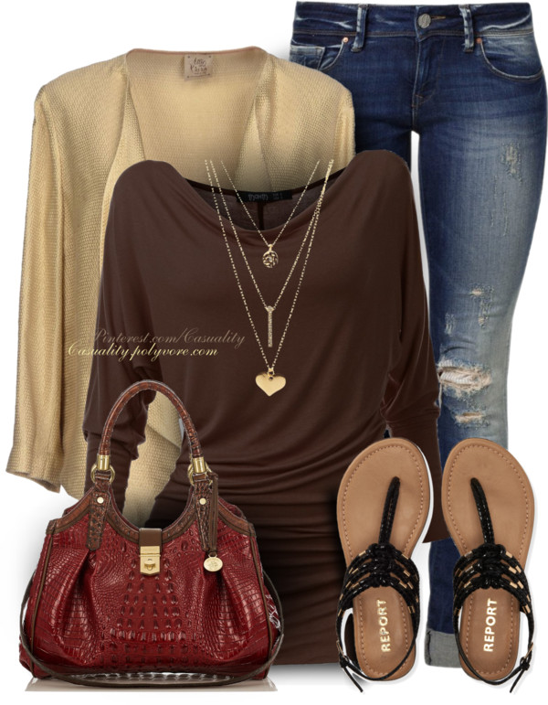 Casual Cowl Neck Brown Pullover Outfit Idea outfitspedia