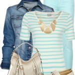 Casual Light Blue Striped Top & Denim Jacket Spring Outfit