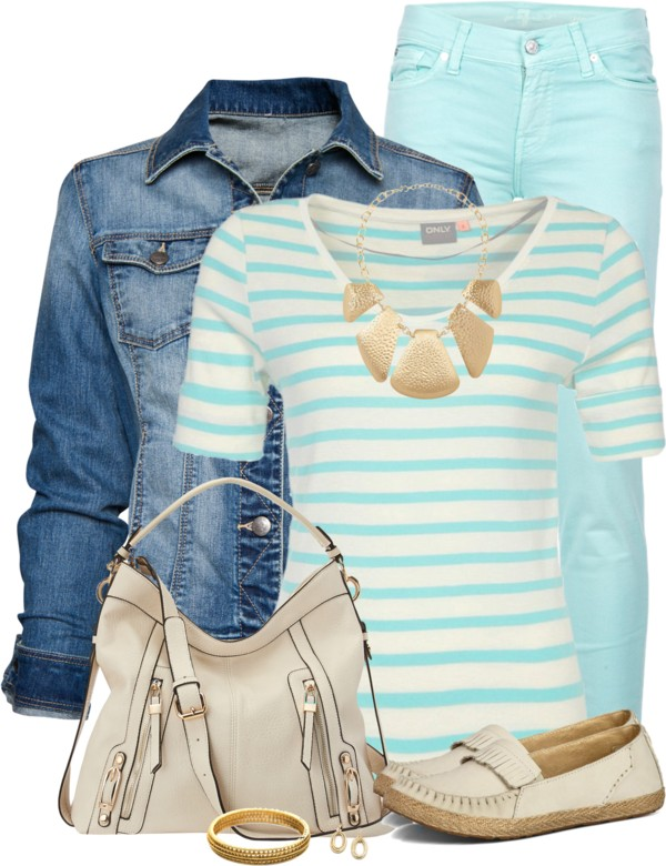 Casual Light Blue Striped Top & Denim Jacket Spring Outfit outfitspedia