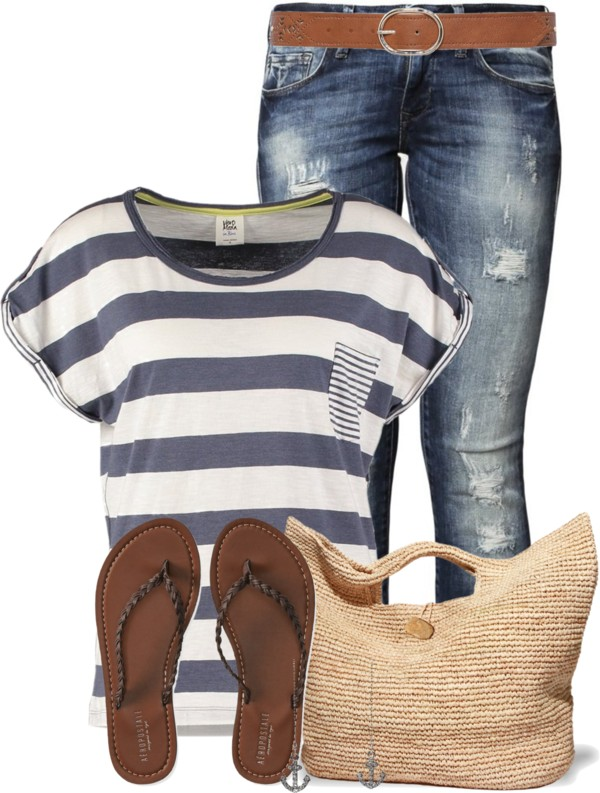 Casual Nautical T Shirt Summer Outfit outfitspedia