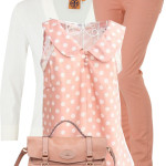 Cute Polka Dot Coral Blouse Spring Outfit