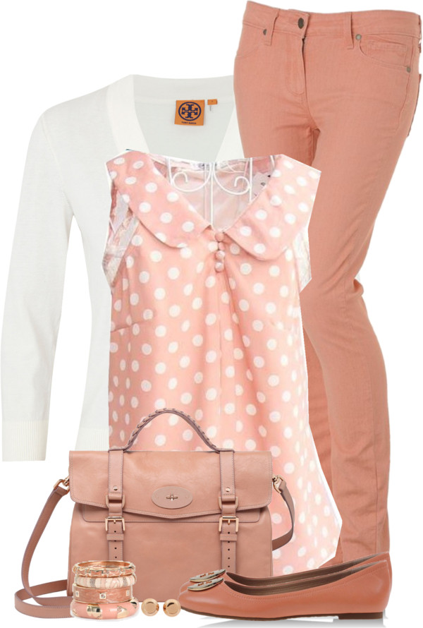 Cute Polka Dot Coral Blouse Spring Outfit outfitspedia