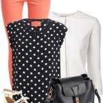 Cute Polka Dot Silk Blouse with Orange Jeans Spring Outfit
