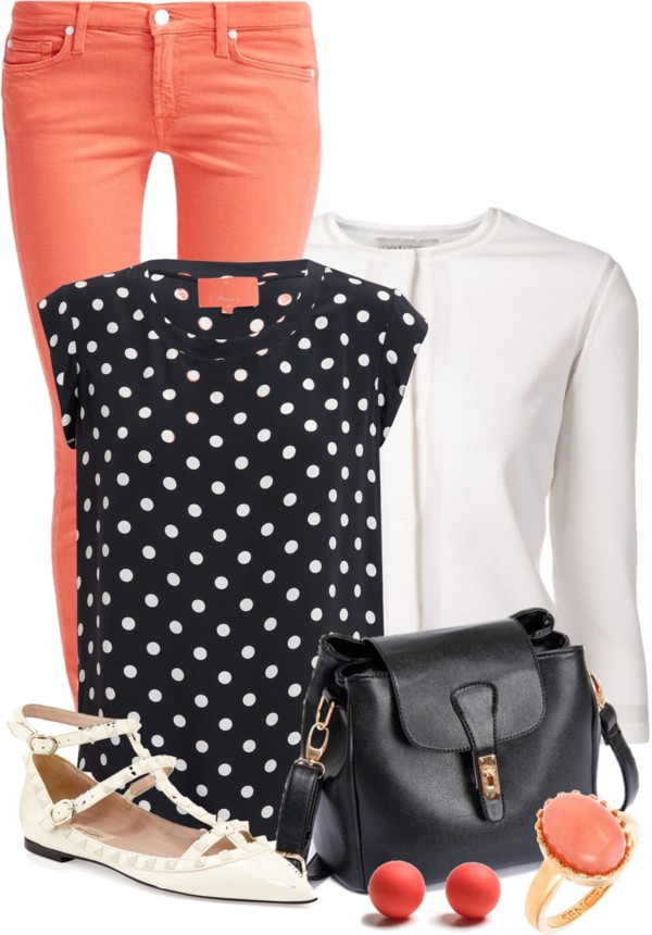 Cute Polka Dot Silk Blouse with Orange Jeans Spring Outfit outfitspedia