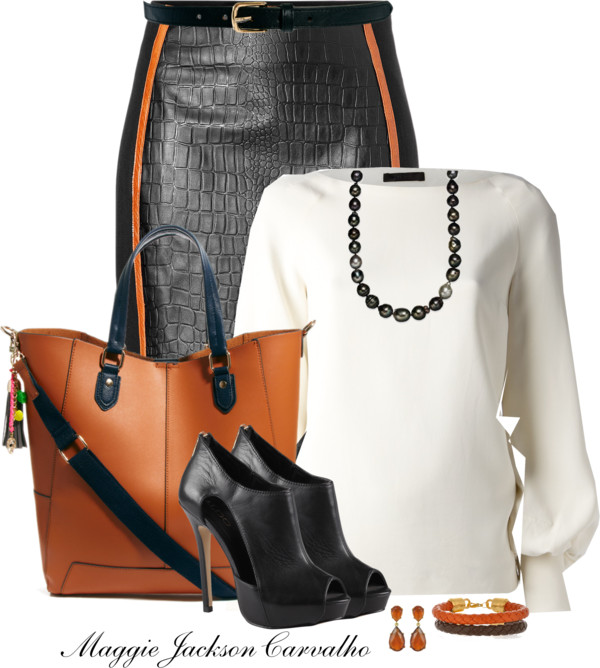 Embossed Leather Pencil Skirt Classy Outfit outfitspedia