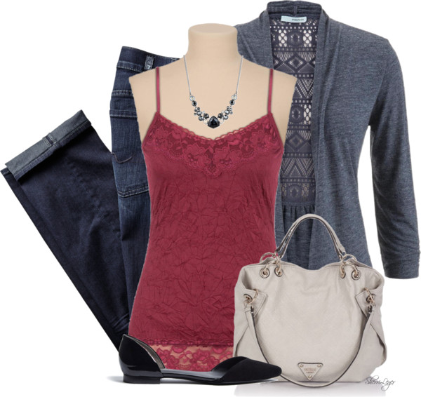 Grey Open Front Lace Back Cardigan Spring Outfit outfitspedia