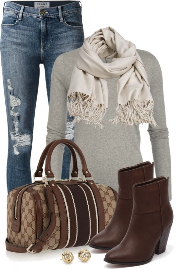 Gucci Vintage Tote Casual Outfit outfitspedia