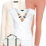Lovely Peach and Ivory Simple Spring Outfit