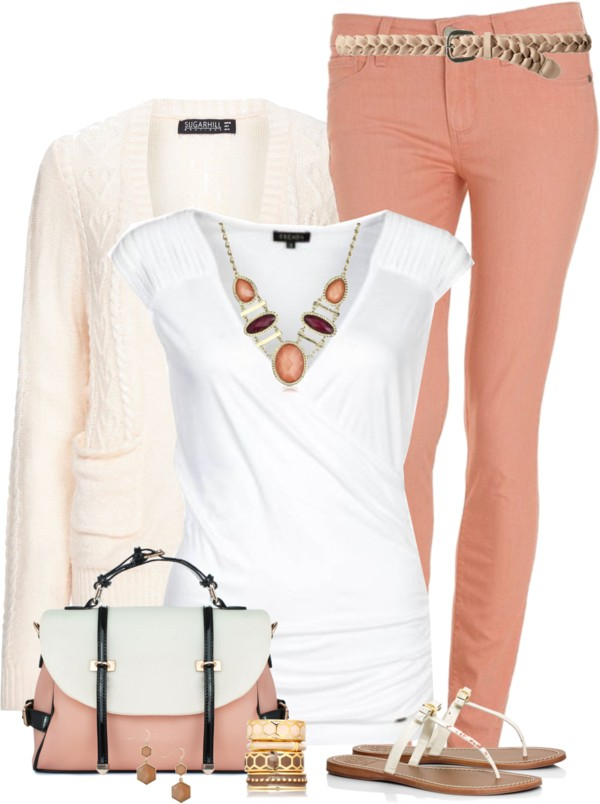Lovely Peach and Ivory Simple Spring Outfit outfitspedia