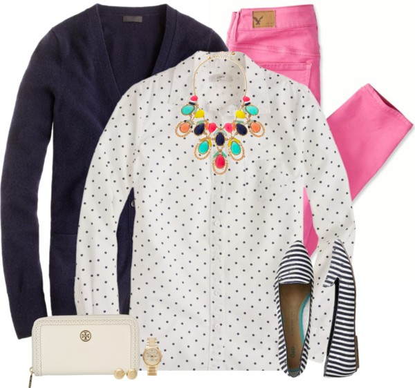 Pink Jeans With Doted Shirt Spring Outfit outfitspedia