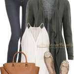 Simple Dark Green Waterfall Cardigan Spring Outfit