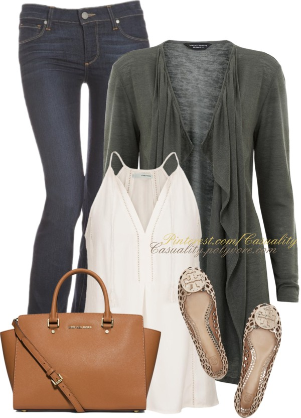 Simple Dark Green Waterfall Cardigan Spring Outfit outfitspedia