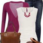 Softy Fuchsia Cardigan Casual Spring Outfit