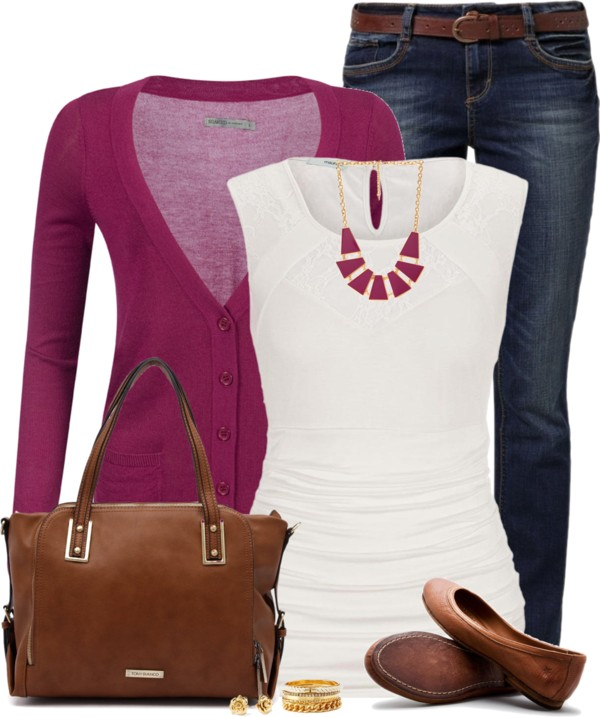 Softy Fuchsia Cardigan Casual Spring Outfit outfitspedia