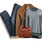 Striped T Shirt With Leather Jacket Casual Outfit