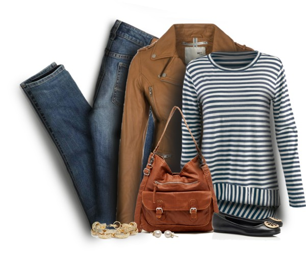 Striped T Shirt With Leather Jacket Casual Outfit outfitspedia