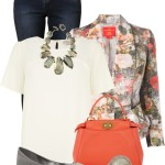 Stylish Floral Print Blazer Spring Outfit