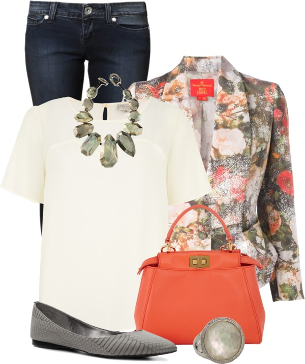 Stylish Floral Print Blazer Spring Outfit outfitspedia