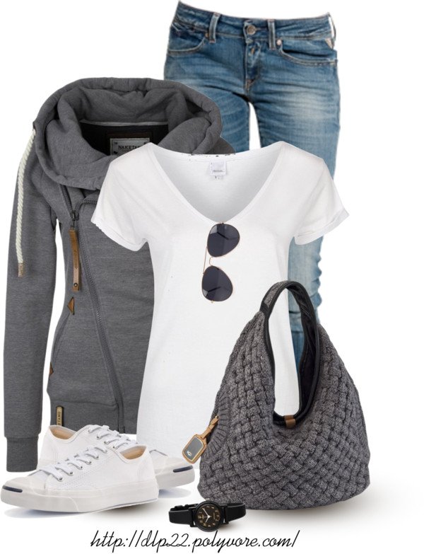 Zipped Hoodie with Hobo Bag Casual Outfit outfitspedia