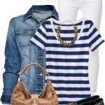 Blue and White Stripe Top Spring Outfit