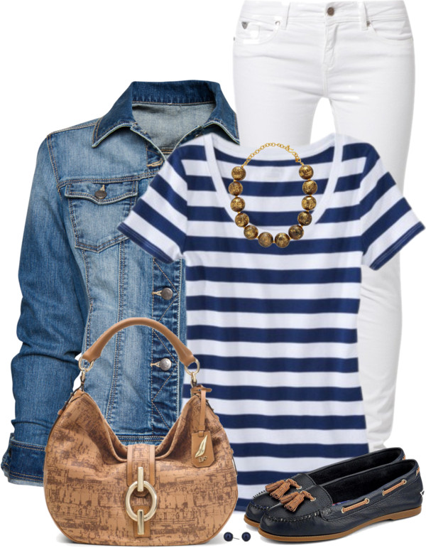 Blue and White Stripe Top Spring Outfit outfitspedia