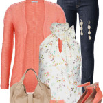 Coral Cardigan & Wedges Spring Outfit