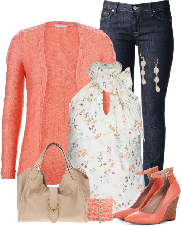 Coral Cardigan & Wedges Spring Outfit outfitspedia