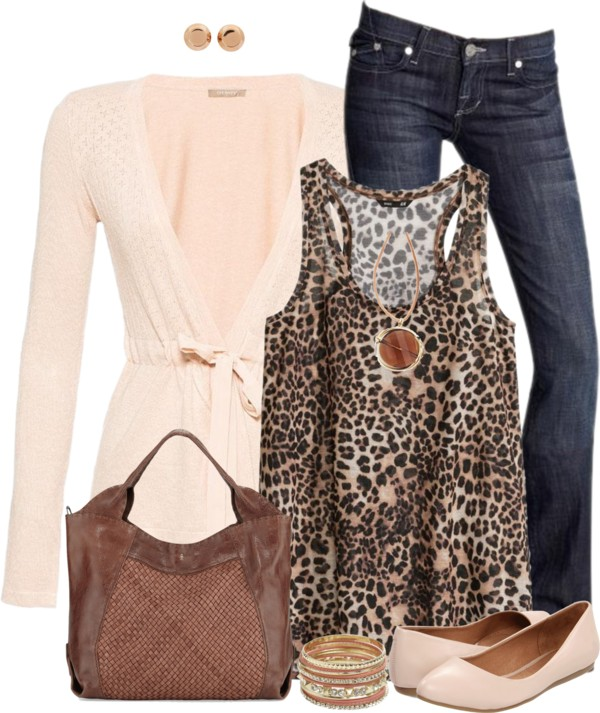 Cute Leopard Printed Jersey Tank Spring Outfit outfitspedia