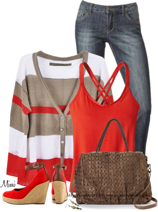 Cute Multistripe Cardigan Spring Outfit outfitspedia