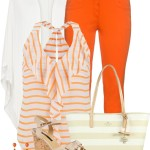 Cute Ruffle Front Striped Chiffon Tank Spring Outfit
