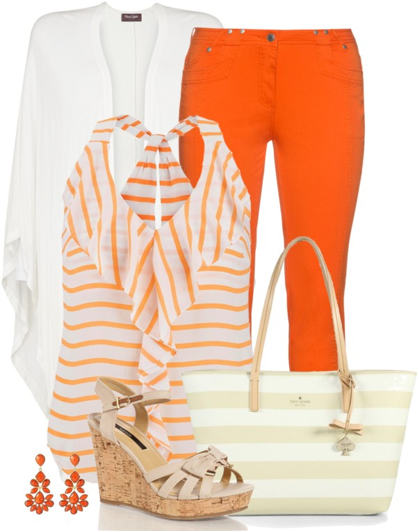 Cute Ruffle Front Striped Chiffon Tank Spring Outfit outfitspedia