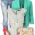 Frill neck dotty top spring outfit