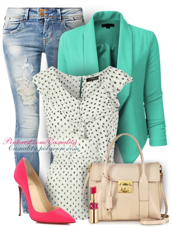 Frill neck dotty top spring outfit outfitspedia