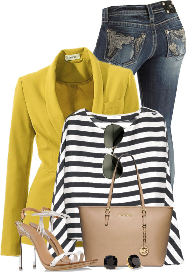 Mango Striped Shirt With Blazer Spring Outfit outfitspedia