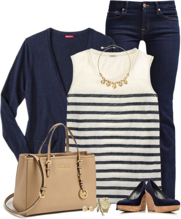 Matching Wedges and Cardigan Spring Outfit outfitspedia