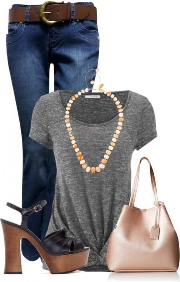 Casual Short Sleeve T Shirt With Wood Platform Heels Outfit outfitspedia