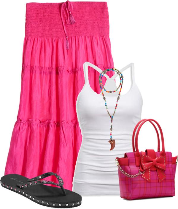 Silk Habotai Skirt Casual Summer Outfit outfitspedia