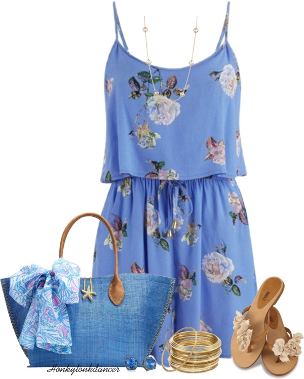 Cute Blue Floral Playsuit Summer Outfit outfitspedia