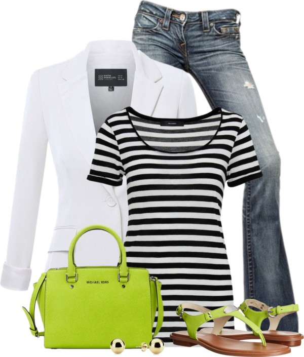 Lime Color Pop, Stripes Top and Boyfriend Blazer Outfit outfitspedia
