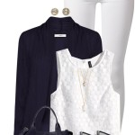 Matching Navy Cardigan and Wedges